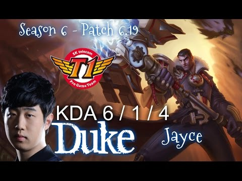 SKT T1 Duke JAYCE vs YASUO Top - Patch 6.19 KR Ranked | League of Legends