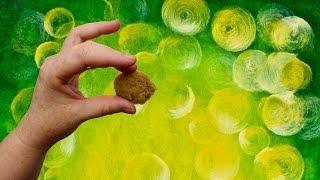خضراء متوهجة خوخه خلفية الاكريليك تقنية الرسم خطوة خطوة