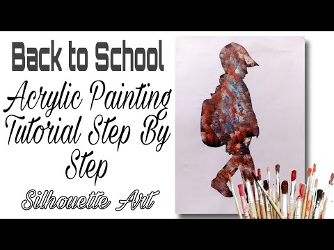 Silhouette Art #34 / Back To School / Boy Acrylic Painting Tutorial step by step / ASMR Satisfying