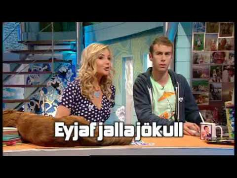 Blue Peter featuring cut-out 3D model of Eyjafjallajökull volcano, Iceland