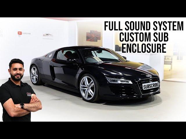 Audi R8 Bespoke Sound System with CUSTOM Sub Box   HUGE Upgrade Over B&O