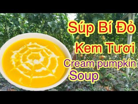 súp bí đỏ kem tươi thơm ngon gây nghiện-Soba Nguyen-How to make cream pumpkin soup
