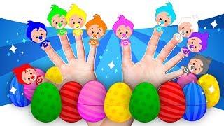 ¡10 Huevos Sorpresa De Familia Dedo! 🎁 Aprender Colores Y Canciones Infantiles | Plim Plim