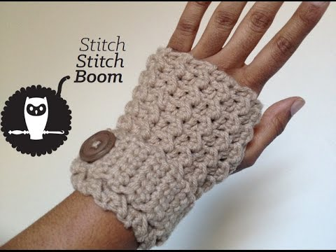 Crochet Fingerless Gloves Tutorials : Crochet Tutorial: Moss Stitch Fingerless Mittens - YouTube