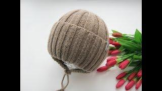 Шапка детская. Шапка осень, весна. Модная шапка спицами. Часть1. Подробный МК.