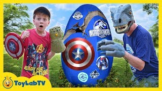 Dinosaurs vs Avengers Giant Surprise Egg! Jurassic World Fallen Kingdom, Infinity War Superhero Toys