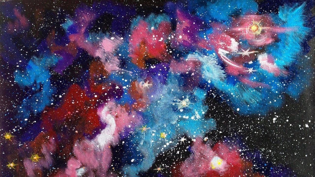 Galaxy Nebula Painting Beginner Acrylic Tutorial The