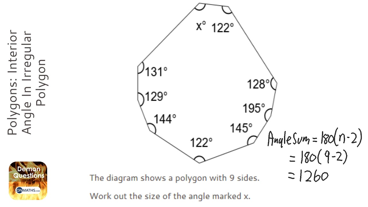 Polygons: Interior Angle In Irregular Polygon (Grade 3) - OnMaths GCSE  Maths Revision