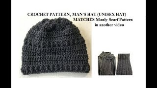 2268yt   MANLY HAT crochet pattern, from hat and scarf set, crochet for men