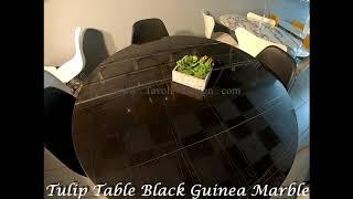 Video: 199 x 121 cm oval Tulip table - Black Guinea marble