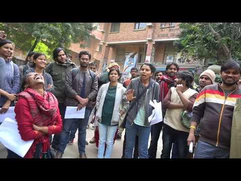 JNUSU's Call for a University Strike : Geeta Kumari addressing a large gathering of students