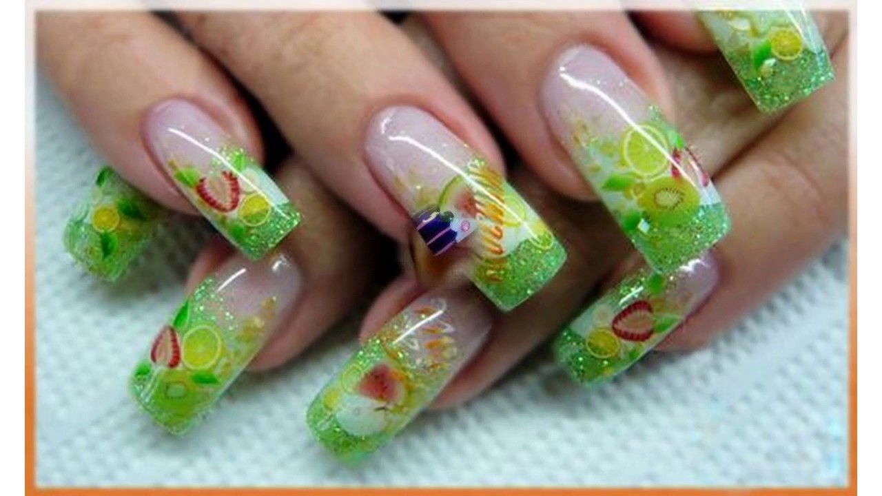 Uñas decoradas a mano con frutas - YouTube
