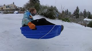 The Big Hill: Serious Sledding After A Rare Seattle Snowfall
