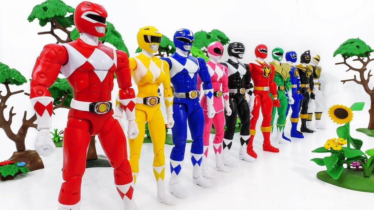 Superheroes Green Samurai Rangers vs Mighty Morphin Army Rangers Toy Battle  #Toysplaytime #2~!