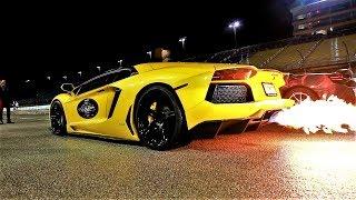Lamborghini Aventador vs McLaren 650S Spider INSANE LOUD Night Race Halloween Supercar Run 2017
