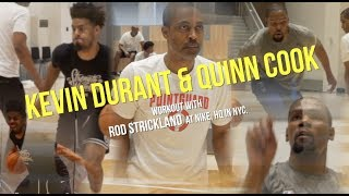 Kevin Durant & Quinn Cook workout with Rod Strickland at Nike, HQ in NYC.