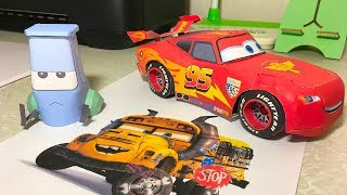 Making paper car models Guido and Lightning Mcqueen