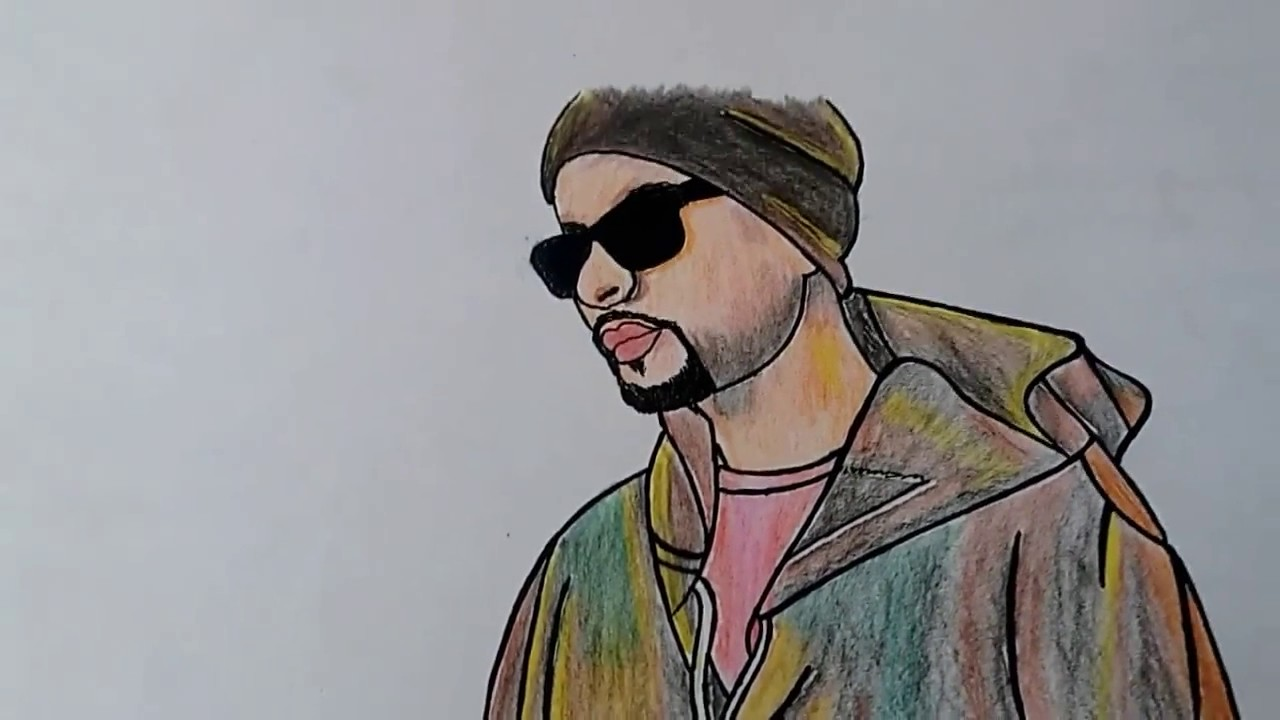 How to draw bohemia with colour pencils drawing of punjabi rapper