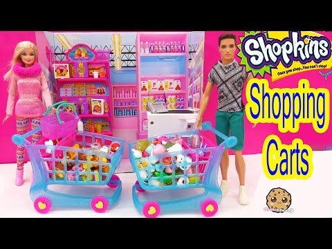 Shopkins Season 3 LARGE SHOPPING CART + 4 Exclusive Shopkins With Barbie Dolls Cookieswirlc Video