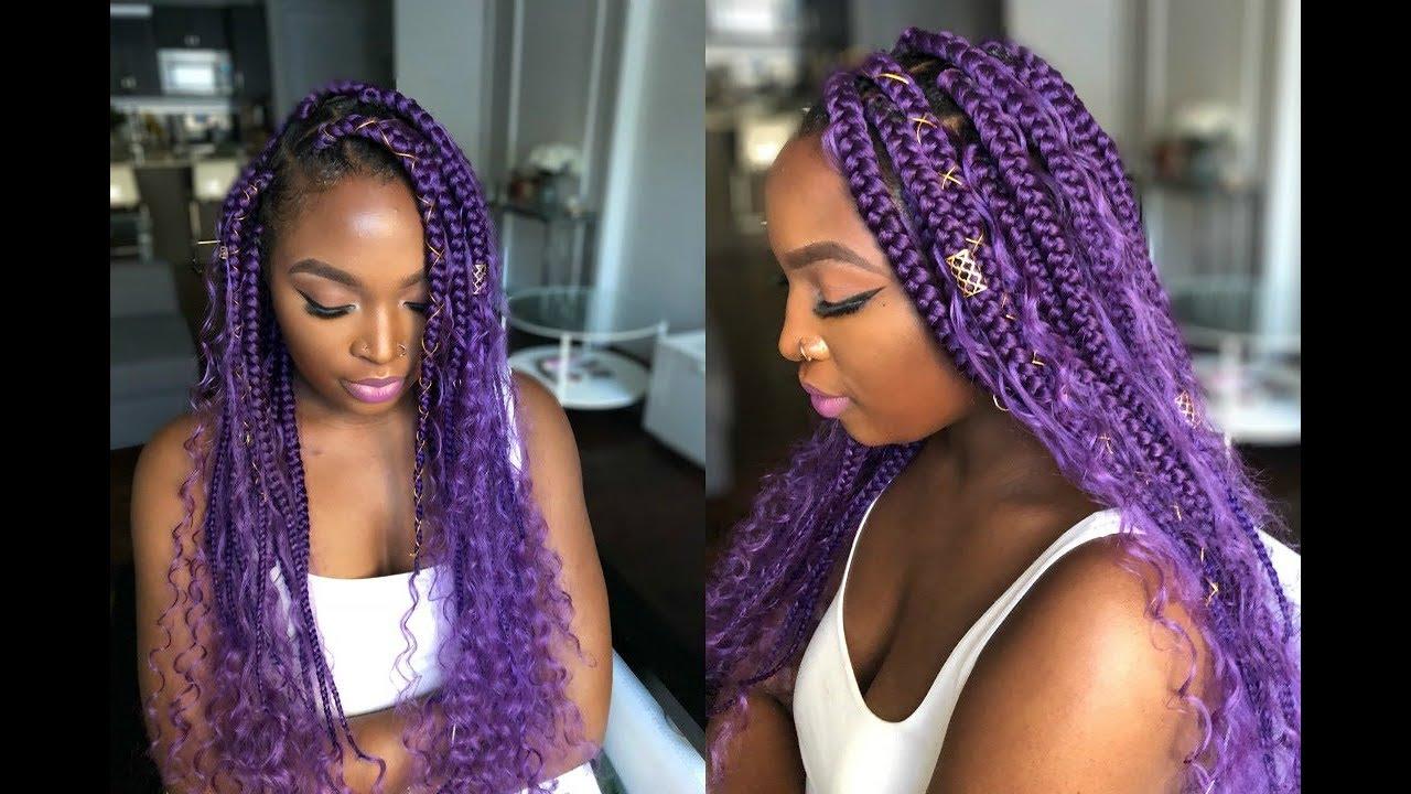 How To Goddess Box Braids Purple Youtube