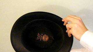 Vintage black silk top hat, size 6 7/8 (56)
