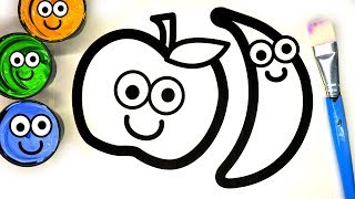Painting Cute Apple Banana Painting Pages, Learn Painting and to Color for Baby
