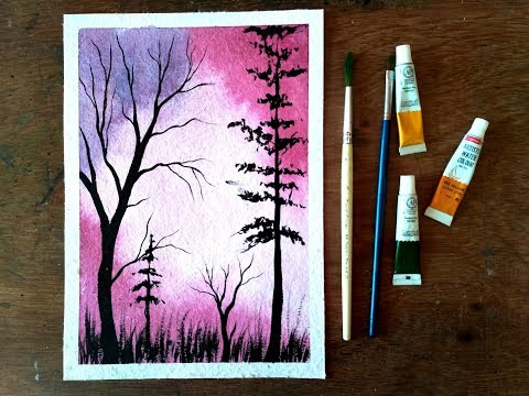Tree Colorful Sunset Watercolor Painting Tutorial – Paint with David