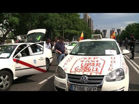 European taxi drivers stage day-long demonstration