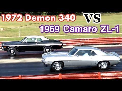 1972 Dodge Demon 340 vs 1969 Camaro ZL1 - PURE STOCK DRAG RACE + history/specs
