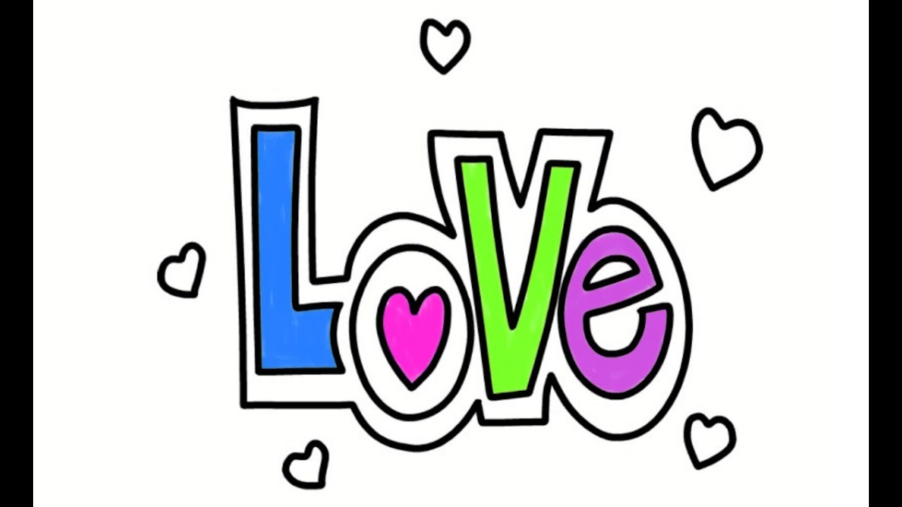 How To Draw Love Easy Drawing Coloring Idea For Kids Youtube