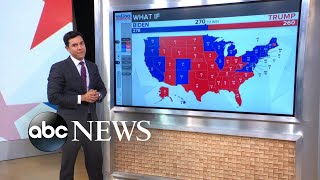 Battleground map and numbers to win the electoral votes l ABC News ABC News' Tom Llamas reports on the outlook for President Trump and Joe Biden and what they would need to reach 270 electoral votes. LEARN MORE: ..., From YouTubeVideos
