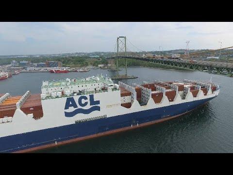 Nice Aerial View! CONRO Vessel ATLANTIC SUN Outbound from Halifax, NS - Under MacKay Bridge