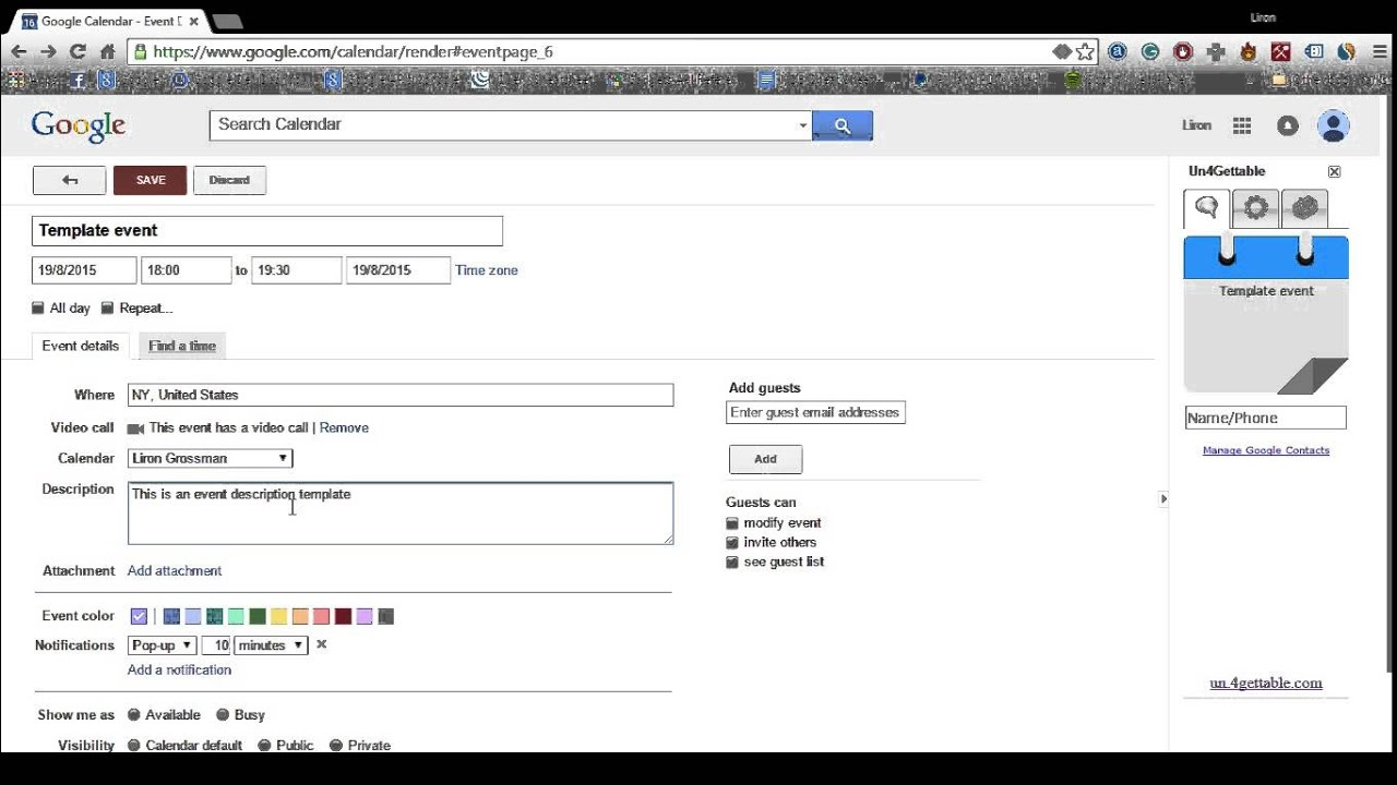 How To Create A Google Calendar Event Template Youtube