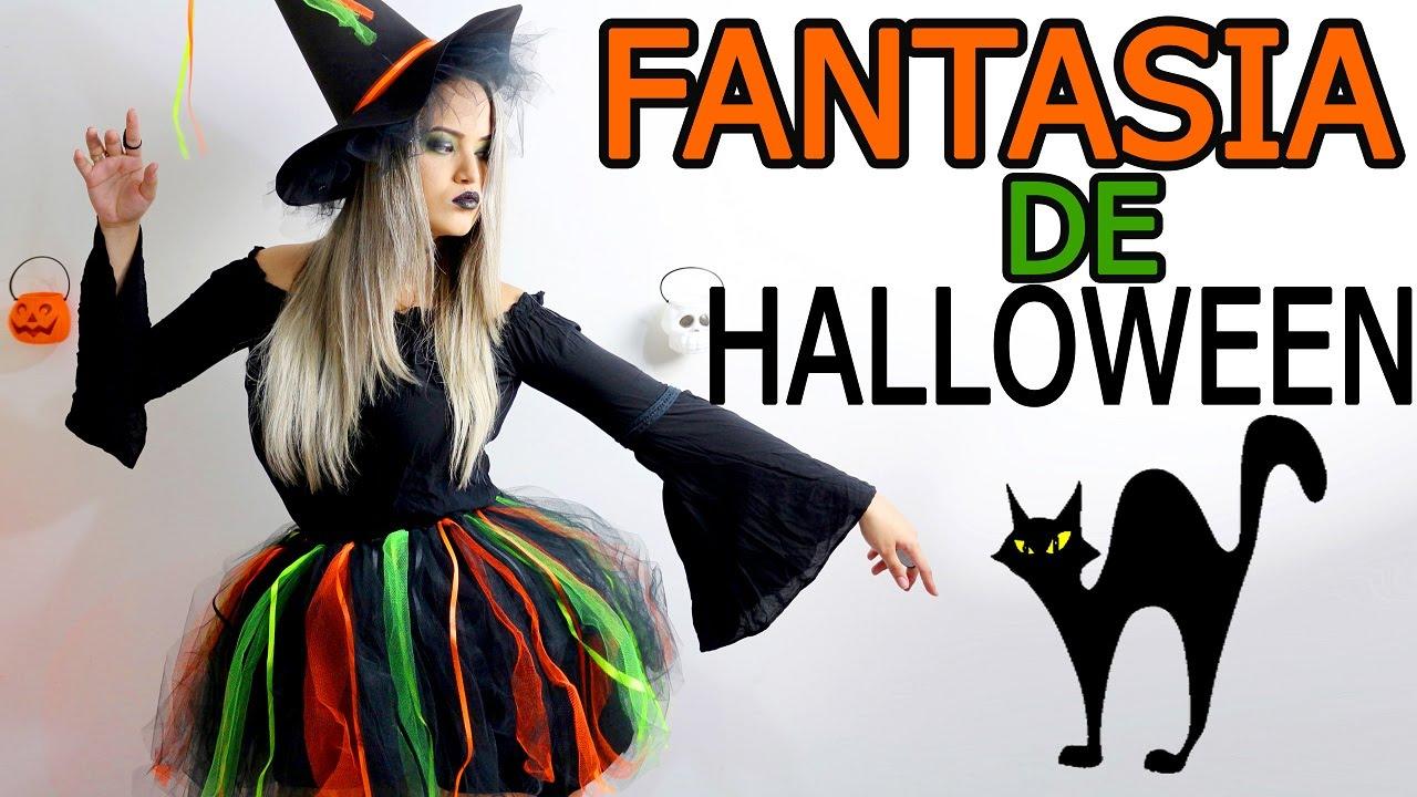 44ccb754b Como fazer Fantasia de Halloween de bruxa