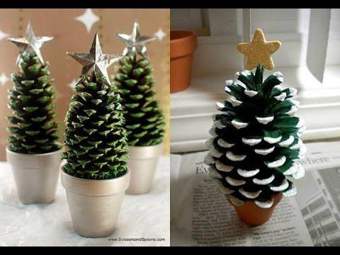 Manualidades Para Navidad Arbolito De Navidad Con Pinas De Pino - Manualidades-navideas-con-pias