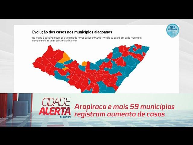 Coronavírus: Arapiraca e mais 59 municípios registram aumento de casos