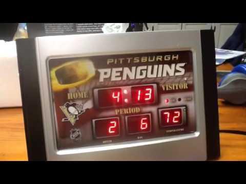 Penguins alarm clock and plaque