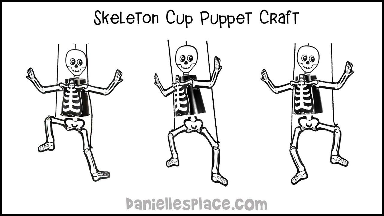 photograph regarding Printable Human Skeleton to Assemble referred to as Skeleton Puppet Cup Craft
