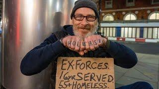 Homeless Veteran Sleeping Rough in London after Nervous Breakdown