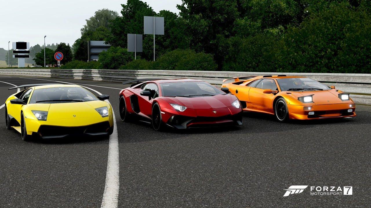 Forza 7 Drag Race Lamborghini Diablo Sv Vs Murcielago Sv Vs