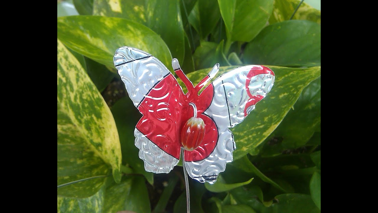 Butterflies on a Stake Made from Soda Cans - YouTube