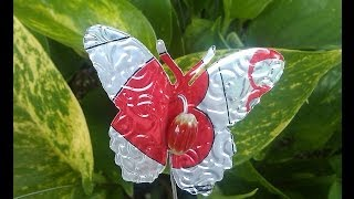 Butterflies on a Stake Made from Soda Cans