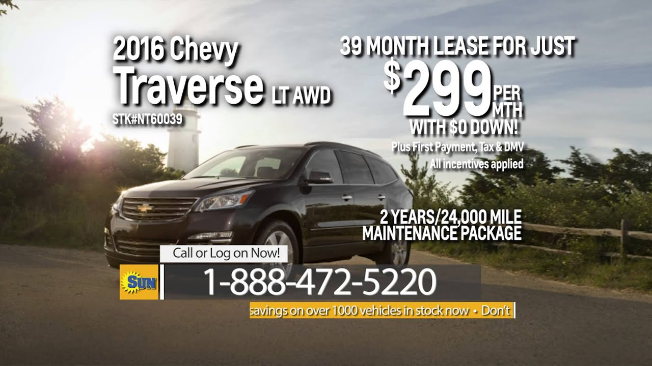 Lease a 2016 Traverse LT AWD for just $299 per month with ZERO Down