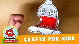 Shark Puppet Craft for Kids | Maple Leaf Learning Playhouse