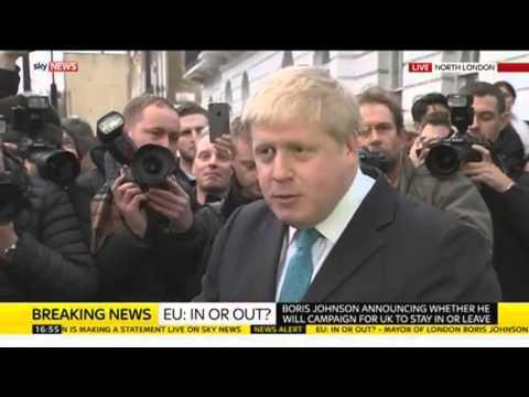 Boris Johnson Announces He Will Campaign For Britain To Leave The EU
