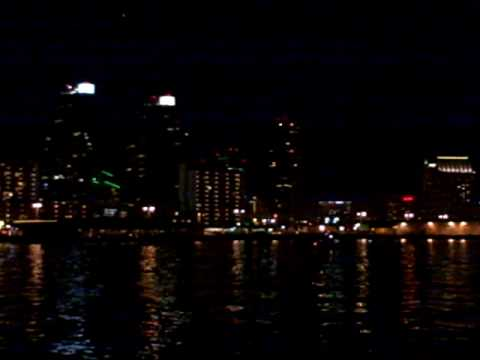 Harbor skyline at night