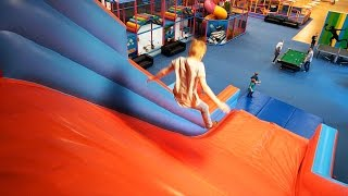 Huge Fun Jump Slide for Kids at Stella's Lekland (indoor playground family fun)