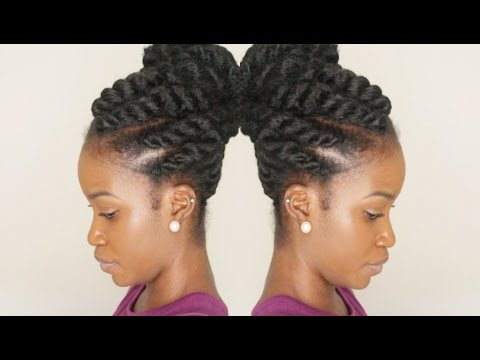 Flat Twist Updo Using Marley Braiding Hair Winter