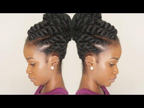 Flat Twist Updo Using Marley Braiding Hair Winter Protective