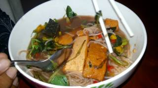 Yummy Dinner - Boy Eating Healthy Noodles - Cambodian Whole Food In A Bowl